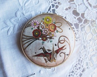 "1960's ""Pink Lady"" Signed compact powder mirror: Vintage Pocket Mirror, Round Compact Case, Makeup Vanity Mirror, Japanese Floral decor"