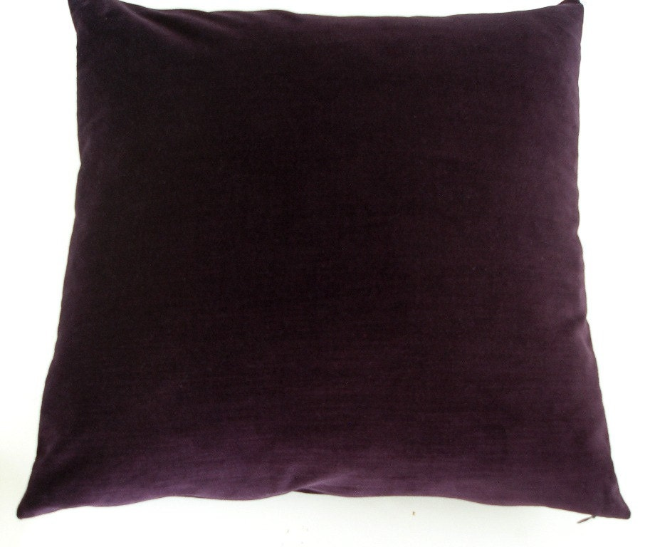 Dark Purple Velvet Throw Pillow Cover Handmade 20 by JeSuisJacki