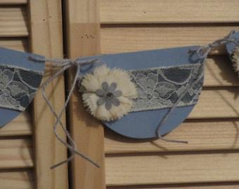 Denim Banner, Blue Denim Banner, Decor, Shabby Denim, Shabby, Blue Denim, Denim Flowers, Blue Mason Jar Vase