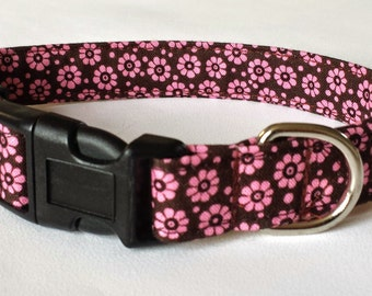 Dog Collar - Pink and Brown Daisy Flower Style Fabric