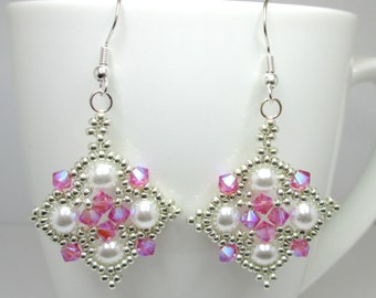 Pink and silver princess earrings, rose swarovski AB 2X earrings, princess earrings, pink and pearls, pink and silver, ER017