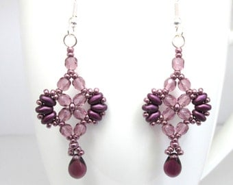 Purple earrings, super duo earrings, amethyst earrings, superduo earrings, mothers day,