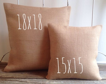 Burlap Pillow Cover - blank cover only - Natural Burlap, White Burlap, Cotton Canvas Pillow Cover - wedding/craft supplies