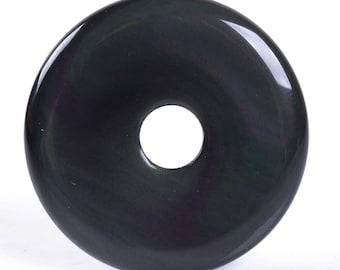 g0117 Natural rainbow obsidian donut gemstone pendant focal bead 30mm