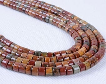 0911 6mm Multi-color picasso jasper heishi cylinder loose beads 16""