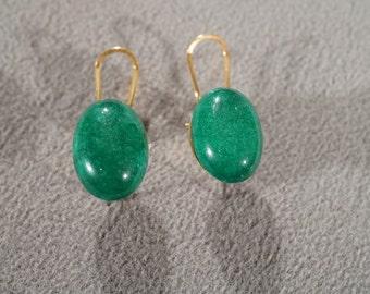 Vintage Art Deco Style Lucite Green Pierced Earrings Jewelry      K