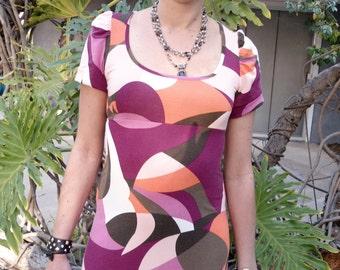 Beautiful Dress with Geometric Design, Colorful Dress, Elegant Casual Dress, 1980 Dress, Women's Clothing, Dress