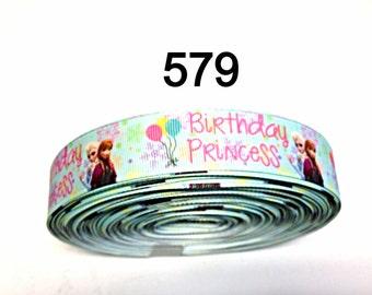 "3 or 5 yard - 1"" Frozen Princess Anna and Elsa Happy Birthday on Light Green Grosgrain Ribbon Hair bow"