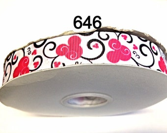 """3 or 5 yard - 7/8"""" Pink Minnie Mouse with Black Swirl on White Grosgrain Ribbon Hair bow Craft Supply"""