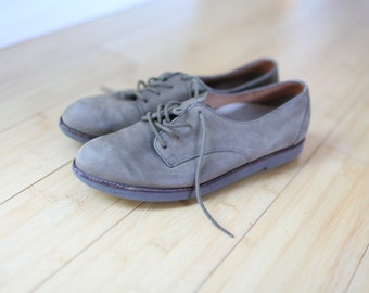 vintage brown suede leather lace up oxfords womens 7