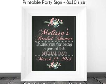 Chalkboard Sign, Bridal Shower Printable Sign, Wedding Shower Chalkboard Printable Sign, Custom Bridal Shower Sign, 8x10, YOU print