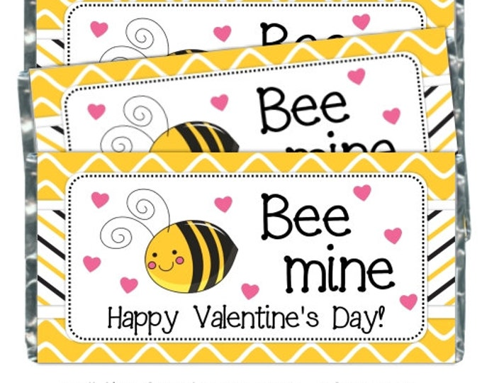 INSTANT DOWNLOAD - Printable Candy Wrappers, Valentine Bee Candy Wrappers, fit over chocolate bars - Bee Mine candy wrappers. YOU print
