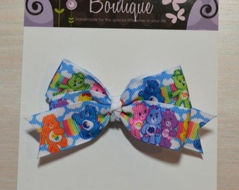 Boutique Style Hair Bow - Care Bears
