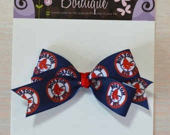 Boutique Style Hair Bow - Boston Red Sox 1