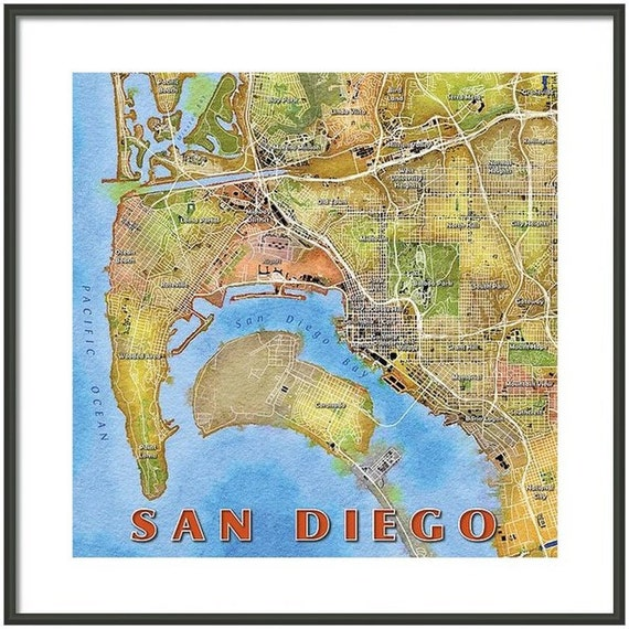 Framed San Diego Watercolor Map Art