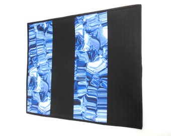 Modern Art Quilt Blue Black Small Fiber Wall Hanging