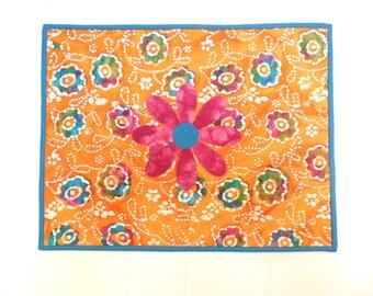 Orange Batik Art Quilt Flower Power Teal Accents