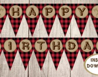 Happy Birthday Banner Instant Download, Little Lumberjack, Buffalo Plaid