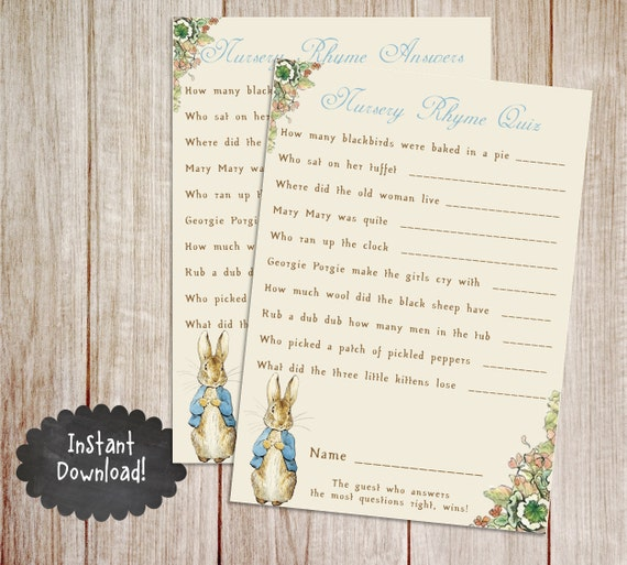 Printable Peter Rabbit Baby Shower Game, Classic Peter