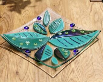 Square Decorative Fused glass dish