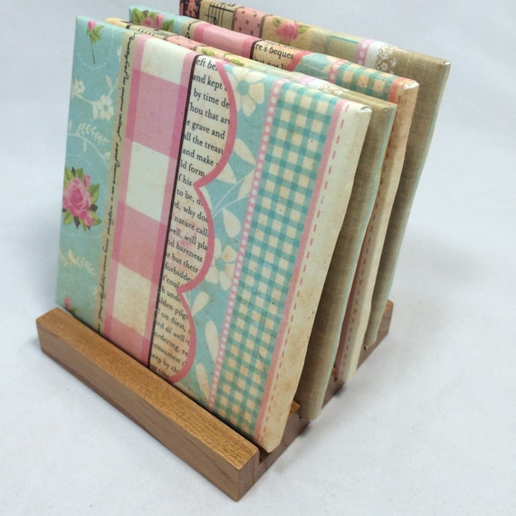 Handmade girly girl drink coasters set of four for Handmade drink coasters