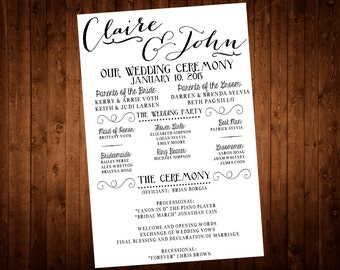 Wedding Program - Calligraphy, Printable, Rustic, Vintage, Contemporary, Modern, Outdoor, Reception, Ceremony, Marriage, Bombshell Pro