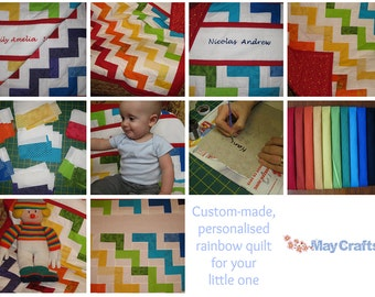 Personalised rainbow quilt/playmat  - hand-painted with child's name and date of birth