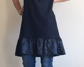 Little Black Dress/ Extravagant Tunic//Cotton Dress with Satin Drape/Black Dress