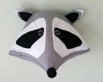 ROCKY RACCOON - Faux Taxidermy Felt Wall Mounted Animal Head
