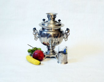 Large Soviet Russian Samovar -Working -  Electric Metal Tea Pot - Nickel Plated Brass - 1980s - from Russia / Soviet Union / USSR