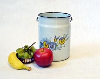 Big soviet vintage Enamel Milk or Cream Can - White -1970s, Made in USSR,Kitchen decor, Farmhouse decor, Soviet Union
