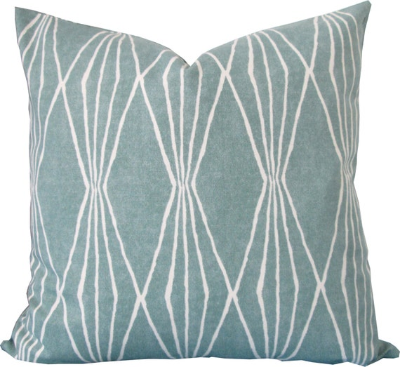 Designer Decorative Pillow Cover-Blue and Ivory