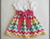 Rainbow chevron dress**Easter dress**Toddler girls chevron dress**Spring dress**Pink yellow blue chevron**Size 12 months,18m, 2t, 3t, 4t, 5t