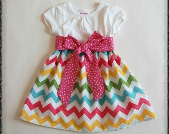 Rainbow chevron dress**Girls chevron dress**Spring dress**Pink yellow blue green chevron**Polka dots, sash**Birthday dress**Twirl skirt