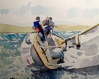 "Original watercolor Painting, ""Burying the Rail"", 8x10 maritime watercolour wall art, free shipping when purchased with another!"