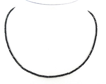 Black Spinel AAA Cut Rondelle 2mm Bead Single Strand Ready to Wear Necklace (6688)