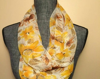 Yellow Floral Infinity Scarf