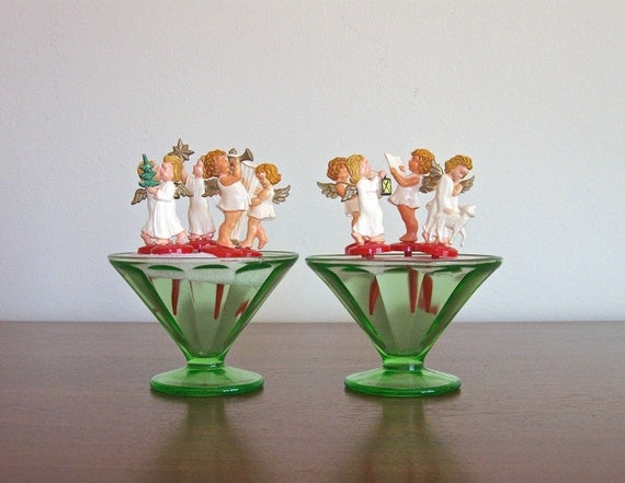 Vintage Christmas Angel Cake Toppers / Plastic Cupcake