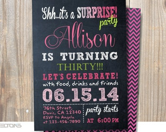 Surprise Birthday Party Invitation. Woman in 30th - 40th - 50th - 60th - 70th  / DIY / Chalkboard  Invitation