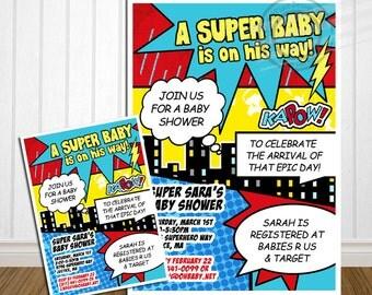 PRINTABLE Superhero Baby Shower Invitation Comic Baby Shower Announcement Super hero Baby Shower Superhero invitation Super hero invitation