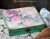 Wooden Decoupage Box-Jewelry Box-Wooden Box-Trinket Box-Upcycled Jewelry Box-Vintage Box