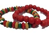 2 Piece Rasta Bracelet Set