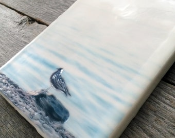 SALE. Seagull. Original encaustic photography. Small wall art. Lake Superior Minnesota.