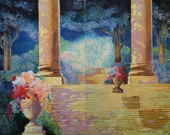 "Mikulas Kravjansky ""Light on the Stairs"" Diptych - 1988 - S/N Intaglio - COA - See Live at GallArt - Buy/Sell/Trade"