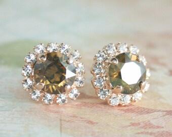 rose gold brown crystal earrings,rose gold crystal earrings,rose gold wedding jewelry,cognac diamond crystal earrings,brown crystal earrings