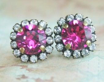 fuchsia earrings,pink crystal earrings,hot pink crystal earrings,stud earrings,crystal earrings,halo earring,pink stud earrings,pink wedding