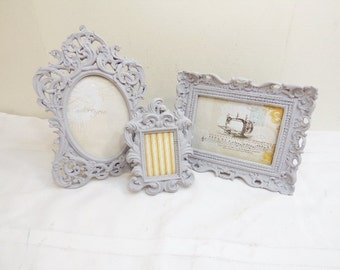 3 Baroque Ornate Picture Frames Wedding Table NUMBERS or Nursery Decor French Grey