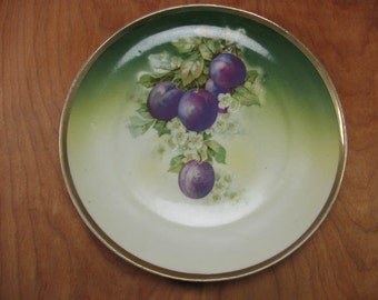 Vintage Ceramic Fruit Themed Plate - Purple Plums - Handpainted - Three Crown China - Collectible German Plate - Germany - Fruit Plates