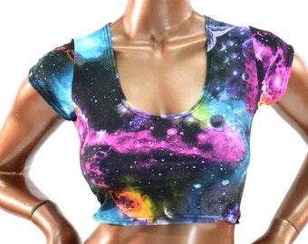 Galaxy Print Cap Sleeve Scoop Neck Crop Top Clubwear Festival Rave Cruisewear -150514