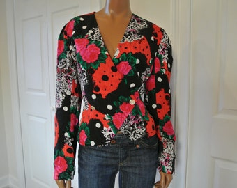 1990s Lillie Rubin Op Art Blouse Black and Red Floral Size 10/M